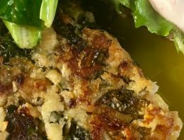 Bubble and Squeak with Poached Eggs and Mixed Greens Salad OLIVIA NEWTON-JOHN