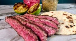 Grilled Skirt Steak with Charred Tomatillo Salsa MICHAEL SYMON