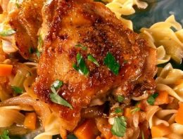 Braised Chicken Thighs with Caramelized Onions and Egg Noodles THE CHEW