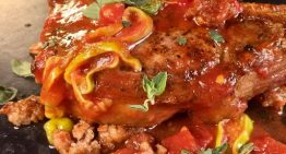 Pork Chops with Sausage and Peppers MICHAEL SYMON