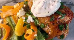 Spicy Orange Glazed Chicken Thighs with Shaved Carrot Salad CLINTON KELLY