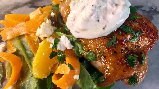Spicy Orange Glazed Chicken Thighs With Shaved Carrot Salad Clinton Kelly The Chew Recipes Vault