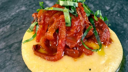 Sausage and Peppers over Soft Polenta MICHAEL SYMON