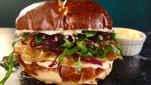 Grilled Chicken Sandwich on a Pretzel Bun THE CHEW