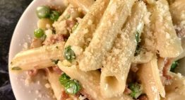 Gluten-Free Penne with Spring Peas, Prosciutto, and Cream Sauce CLINTON KELLY