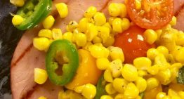 Grilled Ham Steak with Corn and Hot Peppers MICHAEL SYMON