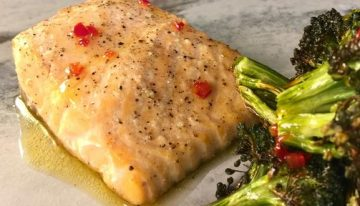 Salmon and Broccoli with Sweet Chile Vinaigrette CARLA HALL