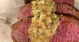 Spanish Spice-Rubbed Lamb Loin with Mustard-Mint Glaze BOBBY FLAY