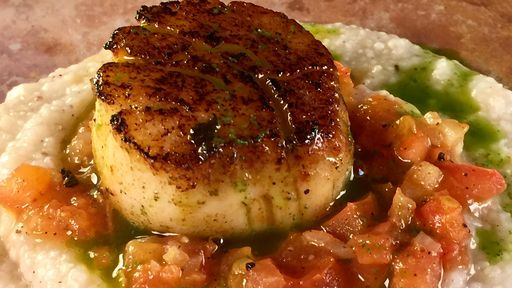 Cajun Scallops with Grits and Tomatoes CARLA HALL